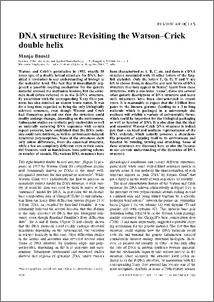 Dna Structure Revisiting The Watson Crick Double Helix Publications Of The Ias Fellows
